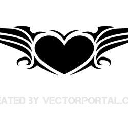 Vector Winged Heart Clip Art