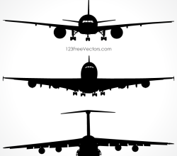 Airplanes Silhouette Front View Vector Free