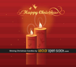 Christmas Candles on Red Background Vector