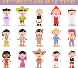 Vector Art Kids Different Races