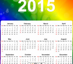 Vector 2015 Calendar on Rainbow Colors Background