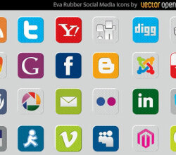 Rubber Social Media Vector Icons