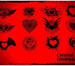 Grunge Vector Hearts