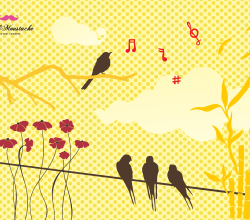 Birds and Flowers Vectors Free