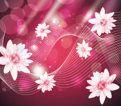 Abstract Wave Background with Pink Flowers Vector Art