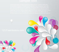 Vector Floral Abstract Background Design with Colorful Flowers