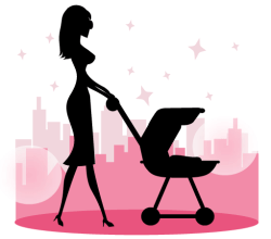 Mommy Walking Baby in a Stroller Vector Art