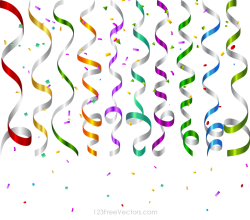 Vector Colorful Birthday Party Streamers and Confetti Background Design