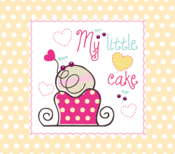 My Little Cake Birthday Card Vector
