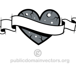 Love Heart with Banner Vector