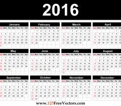 Printable 2016 Calendar Template