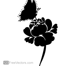 Rose Silhouette with Butterfly Vector Image