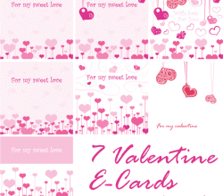 Valentine's Day Greeting Cards Vector Set