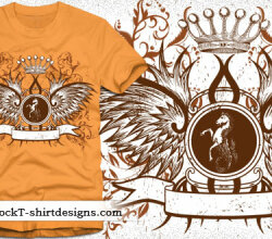Winged Shield With Crown And Floral Free Tshirt Design