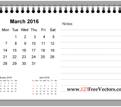 March 2016 Printable Calendar with Notes