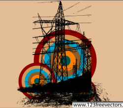 Retro Electric Tower Vector