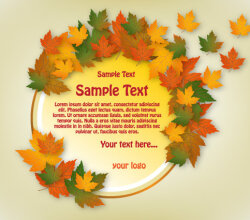 Autumn Banner Circle Design Vector Free