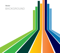Abstract Vector Background Design with Colorful Stripes Perspective
