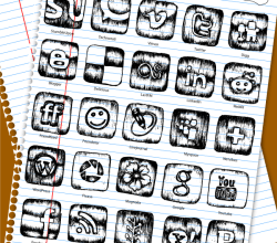 Sketchy Social Media Icons Free Vector
