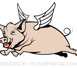 Flying Pig Vector Graphics