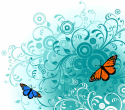Flowers And Butterfly Free Vector