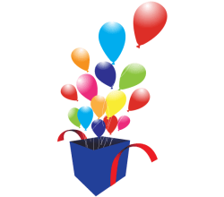 Box with Balloons Vector Graphics