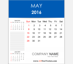 Editable Calendar May 2016