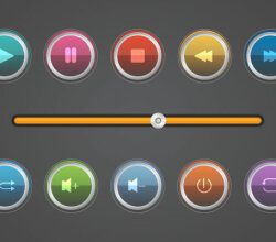 Glossy Music Buttons Vector