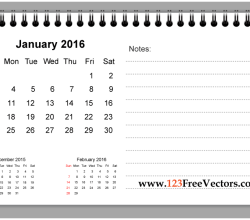 January 2016 Printable Calendar with Notes