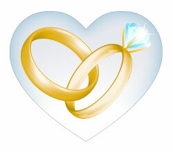 Wedding Golden Rings in Heart Vector Art