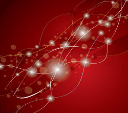 Abstract Glowing Lines Red Background with Stars Vector Design
