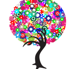Vector Colorful Flowers Tree