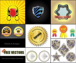 Free Shield Badge Vector Pack