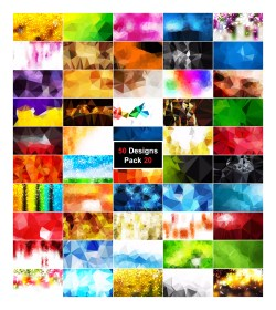 50 Abstract Vector Low Poly Background Collection Pack 20