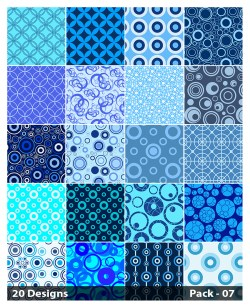 20 Blue Circle Pattern Vector Pack 07