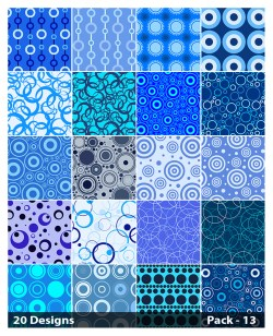 20 Blue Geometric Circle Pattern Vector Pack 13