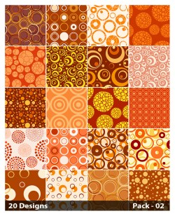 20 Orange Circle Pattern Vector Pack 02