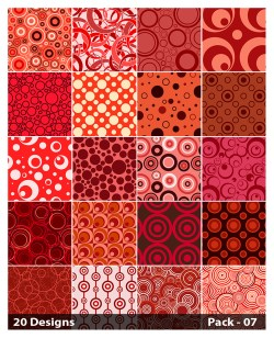 20 Red Circle Pattern Vector Pack 07