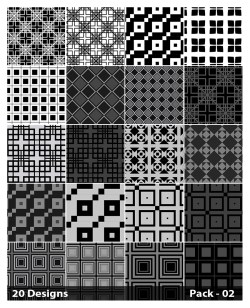 20 Black Square Pattern Vector Pack 02