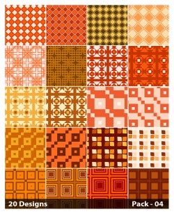 20 Orange Square Pattern Background Vector Pack 04