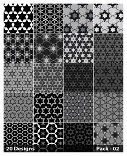 20 Black Star Pattern Vector Pack 02
