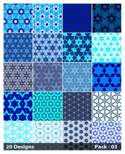 20 Blue Star Pattern Background Vector Pack 03