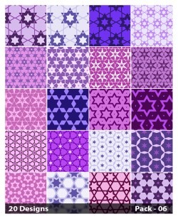 20 Purple Seamless Star Background Pattern Vector Pack 06