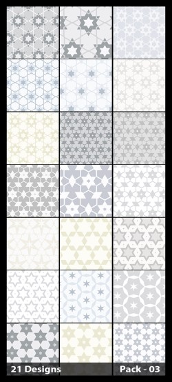 21 White Star Pattern Background Vector Pack 03