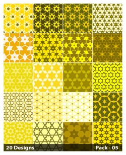 20 Yellow Seamless Star Pattern Background Vector Pack 05