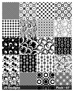 20 Black and White Circle Pattern Vector Pack 07