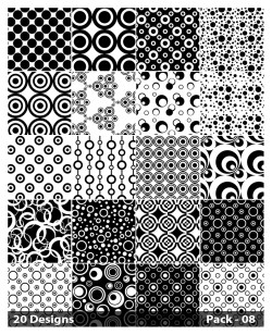 20 Black and White Seamless Circle Pattern Vector Pack 08