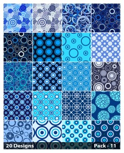 20 Blue Seamless Circle Pattern Background Vector Pack 11