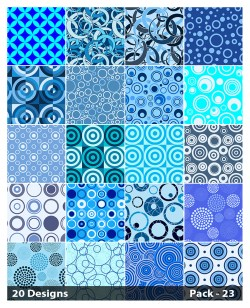 20 Blue Seamless Circle Pattern Background Vector Pack 23