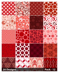 20 Red Seamless Circle Background Pattern Vector Pack 12